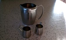 2 Mini Stainless Steel CREAMERS AND 1 MILK JUG